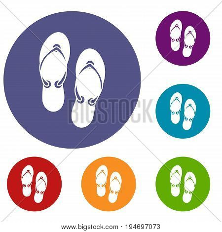 Flip flop sandals icons set in flat circle reb, blue and green color for web