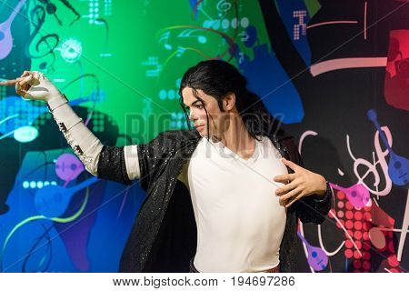 ISTANBUL, TURKEY - MARCH 16, 2017: Michael Jackson wax figure at Madame Tussauds  museum in Istanbul. Michael Jackson was an American singer, songwriter,  dancer and producer.