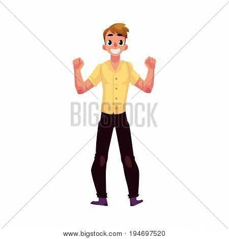 Young man, boy, guy, rejoicing, cheering, clenching fists in happiness and excitement, cartoon vector illustration isolated on white background. Full length portrait of happy rejoicing young man