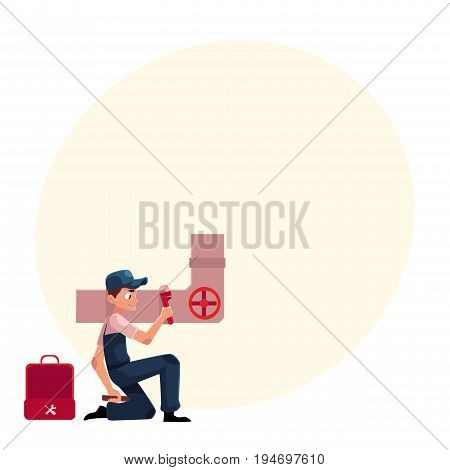 Plumbing specialist with wrench and toolbox repairing sewer pipe, cartoon vector illustration with space for text. Plumber, plumbing specialist, repairman at work, fixing sewer pipe system