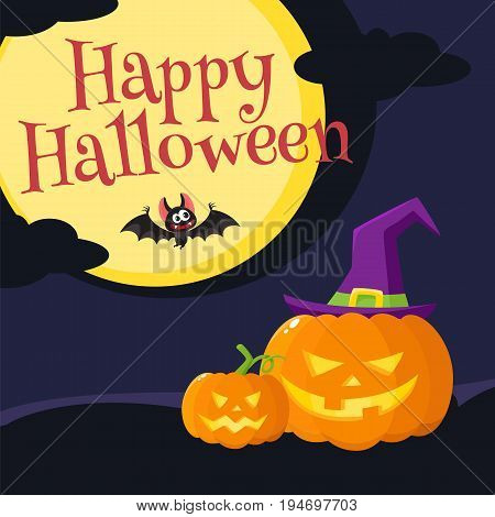 Happy Halloween greeting card, poster, banner design with orange pumpkin in pointed witch hat, bat, moon and dark night, cartoon vector illustration. Halloween greeting cardwith orange pumpkin