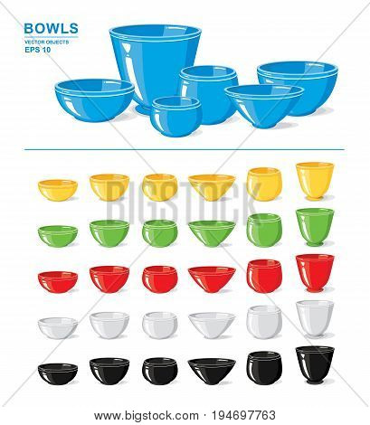 Vector illustration. Set of different colorful empty bowls and crockery isolated on a white background. Kitchen objects
