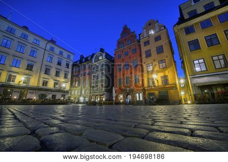 STOCKHOLM, SWEDEN 2017-07-04: Branda Tomten at night, in old town, Stockholm