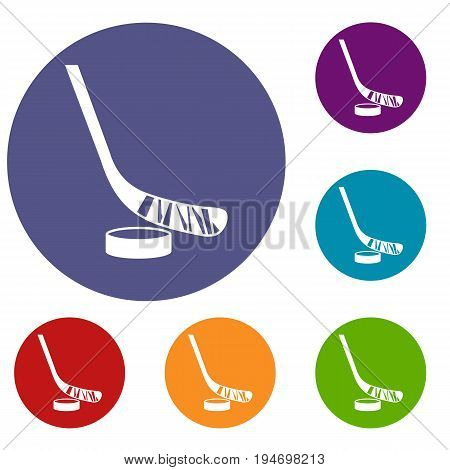 Stick and puck icons set in flat circle reb, blue and green color for web
