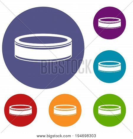 Puck icons set in flat circle reb, blue and green color for web