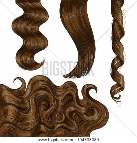 Set of shiny long brown, fair straight and wavy hair curls, sketch style vector illustration isolated on white background.