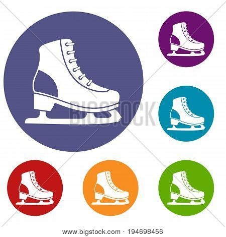 Ice skate icons set in flat circle reb, blue and green color for web