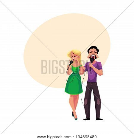 Man and woman singing duet into microphones, karaoke party, contest, competition, cartoon vector illustration with space for text.