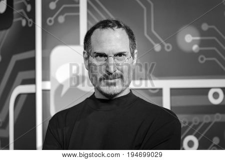 ISTANBUL, TURKEY - MARCH 16, 2017: Steve Jobs wax figure at Madame Tussauds  museum in Istanbul. Steve Jobs was  the co-founder, chairman, and chief executive officer of Apple Inc.