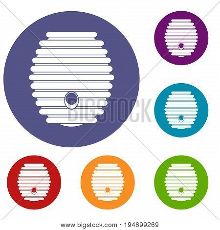 Beehive icons set in flat circle reb, blue and green color for web