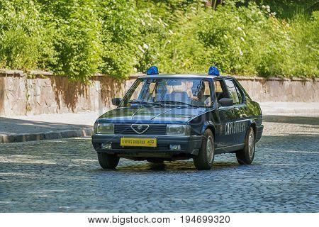 Lviv Ukraine - June 4 2017:Old retro car Alfa Romeo taking participation in race Leopolis grand prix 2017 Ukraine.