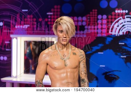ISTANBUL, TURKEY - MARCH 16, 2017: Justin Bieber wax figure at Madame Tussauds  museum in Istanbul. Justin Drew Bieber is a Canadian singer and songwriter.