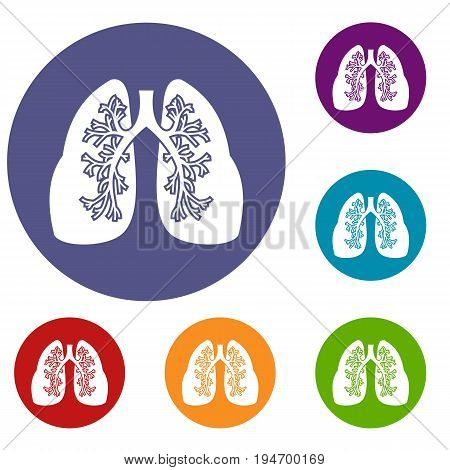 Lungs icons set in flat circle reb, blue and green color for web