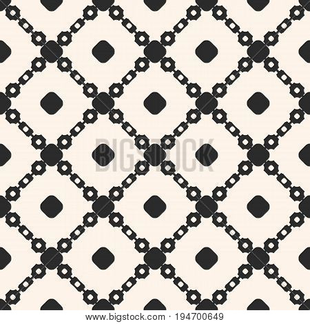 Vector seamless pattern. Geometric monochrome texture with simple shapes, circles, chains, diagonal lattice, square grid. Abstract background, repeat tiles. Design for prints, decor, textile, digital.