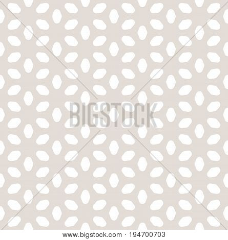 Flower pattern. Vector seamless pattern in pastel colors beige & white. Geometric minimalist texture with smooth flower silhouettes. Abstract floral background. Design element for prints, decor, fabric, textile. Seamless floral pattern.
