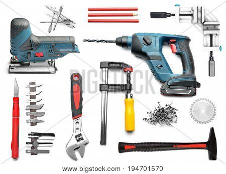 Set of carpenter's tool on white background