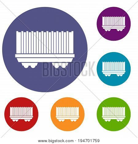 Cargo wagon icons set in flat circle reb, blue and green color for web