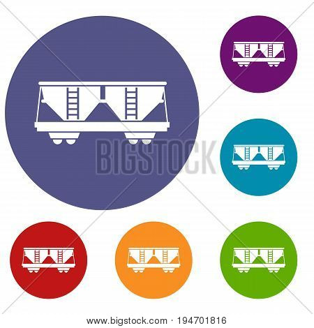 Freight railroad car icons set in flat circle reb, blue and green color for web