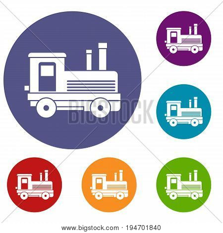 Locomotive icons set in flat circle reb, blue and green color for web