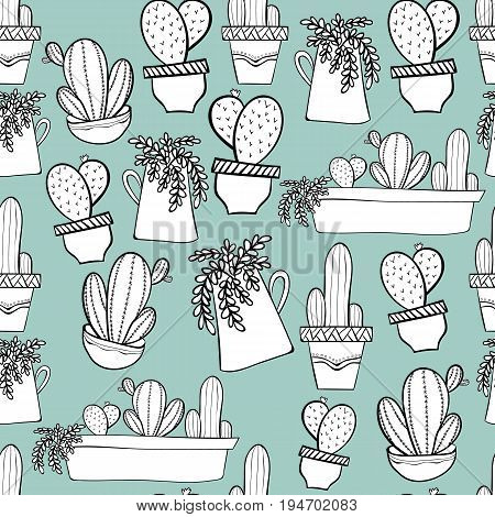 Seamless background pattern with cactus in pots. Indoor plants in a flat style. Natural background with cacti illustration.