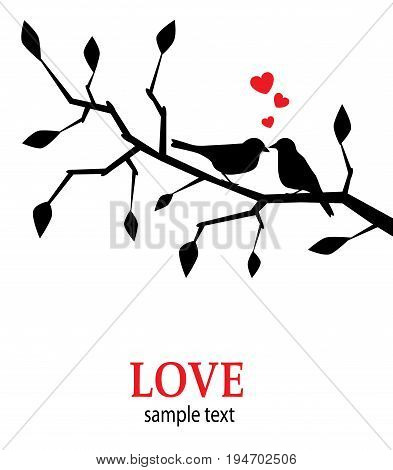 Silhouettes of black birds in love on a branch with a heart
