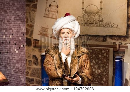 ISTANBUL, TURKEY - MARCH 16, 2017: Mimar Sinan wax figure at Madame Tussauds  museum in Istanbul. Mimar Sinan was the chief Ottoman architect  and civil engineer in Ottoman Empire (16th century)