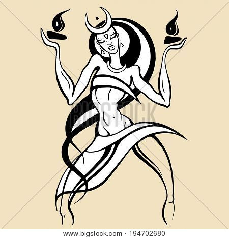 Beautiful young woman dancing with fire. Hand drawn Vector illustration, White background