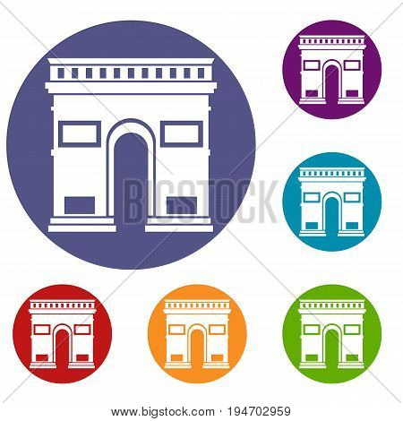 Triumphal arch icons set in flat circle reb, blue and green color for web