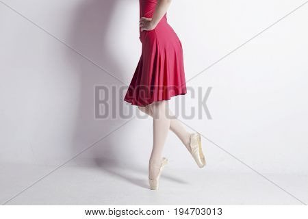 Ballerina Dancing, With A Very Used Pointe Shoes.