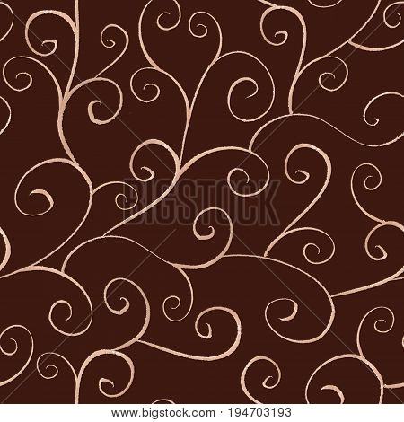 Watercolor hand drawn ornamental line seamless pattern on dark brown background