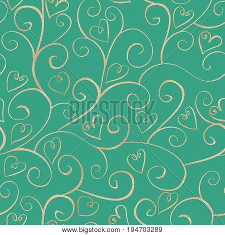 Watercolor hand drawn silver ornamental line seamless pattern with hearts on turquoise background