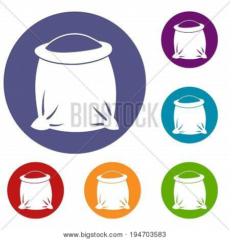 Sack full of flour icons set in flat circle reb, blue and green color for web