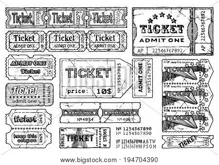Vector hand drawn illustration of retro ticket set in vintage engraved style. isolated on white background.