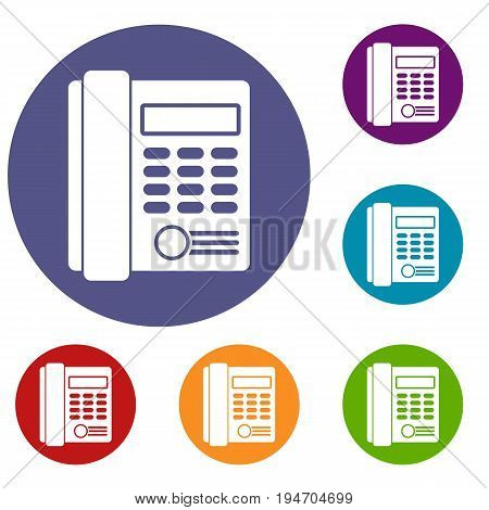 Office business keypad phone icons set in flat circle reb, blue and green color for web