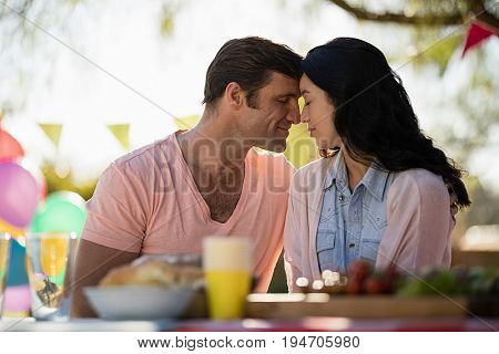 Smiling couple embracing head to head in park