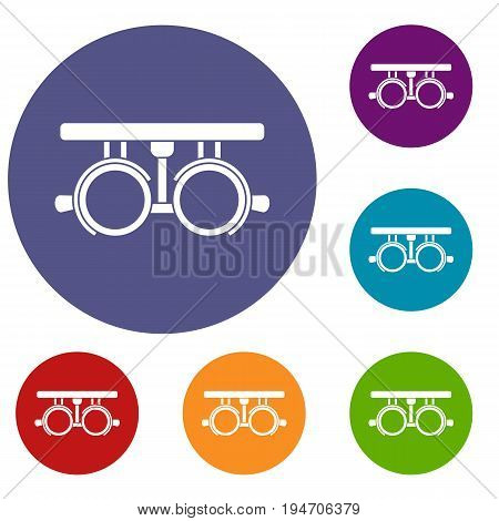 Trial frame for checking patient vision icons set in flat circle reb, blue and green color for web