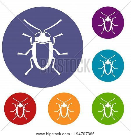Longhorn beetle grammoptera icons set in flat circle reb, blue and green color for web