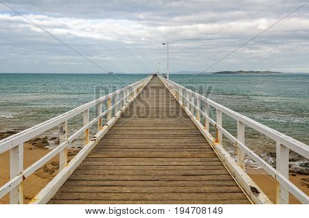Point Lonsdale Pier on an overcast autumn afternoon - Victoria Australia
