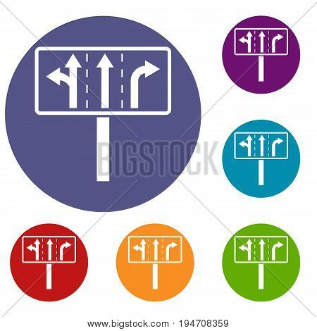 Traffic lanes at crossroads junction icons set in flat circle reb, blue and green color for web