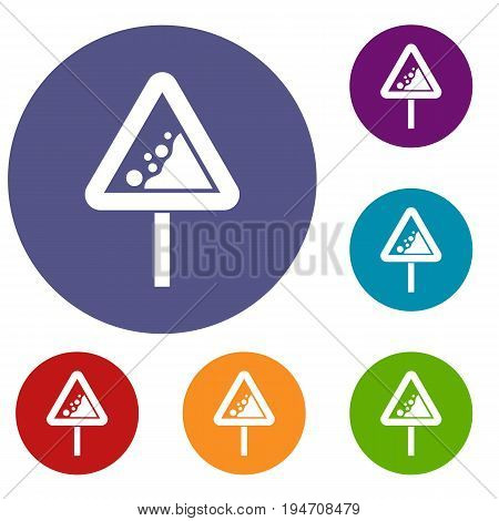 Falling rocks warning traffic sign icons set in flat circle reb, blue and green color for web