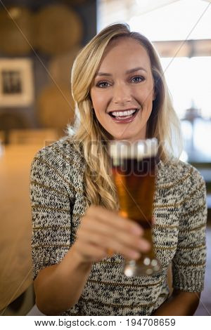 Portrait of beautiful woman holding glass of beer at bar counter