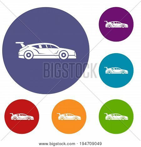 Rally racing car icons set in flat circle reb, blue and green color for web