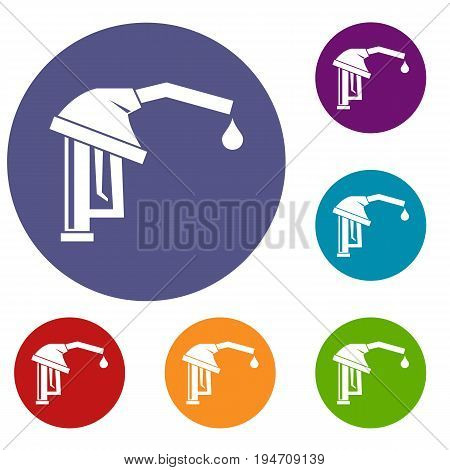 Gasoline pump nozzle icons set in flat circle reb, blue and green color for web