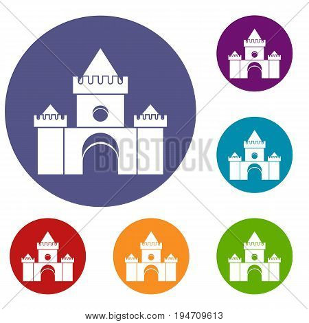 Fairytale castle icons set in flat circle reb, blue and green color for web