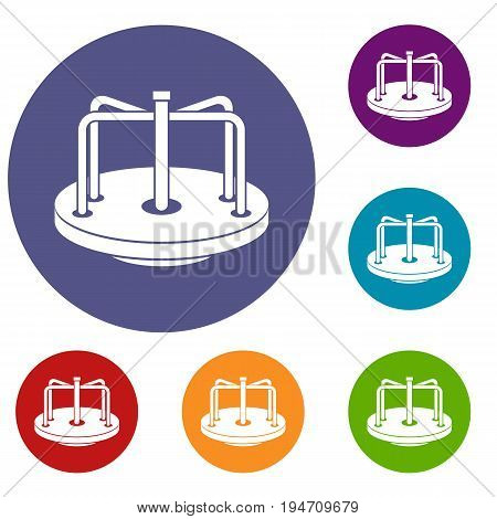 Children merry go round icons set in flat circle reb, blue and green color for web