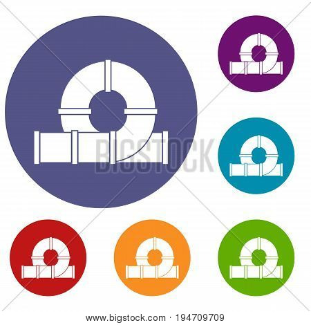 Playground slider water tube icons set in flat circle reb, blue and green color for web