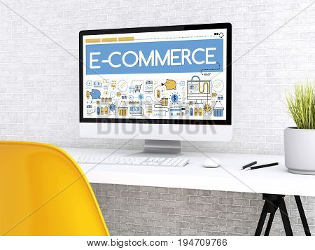 3D Computer With Word E-commerce.
