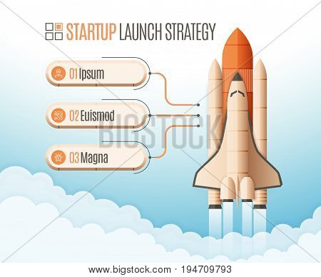 Infographics template with a three structure elements of startup strategy. Rocket or space shuttle launch. Vector illustration