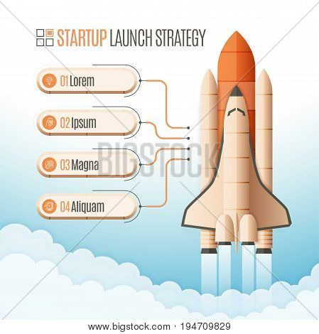 Infographics template with a four structure elements of startup strategy. Rocket or space shuttle launch. Vector illustration