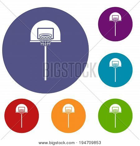 Street basketball hoop icons set in flat circle reb, blue and green color for web